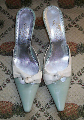 Auth Luly Yang Pale Green w Cream Leather Mules Pumps Heels 7.5M Made in Italy