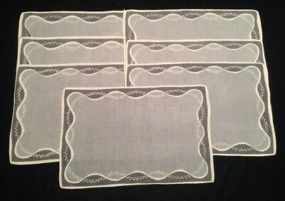 Mid Century Modern Linen Placemats Gray Slate White Set 7 Vintage Made in USA