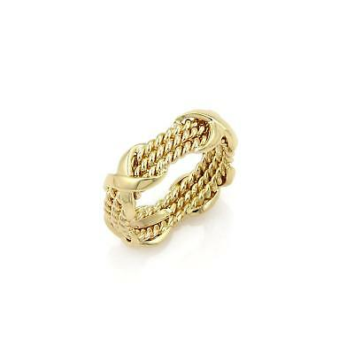 dfbf3d3f26860 TIFFANY & CO. Schlumberger 18k Gold Rope Three Row X Band Ring Size 5.5