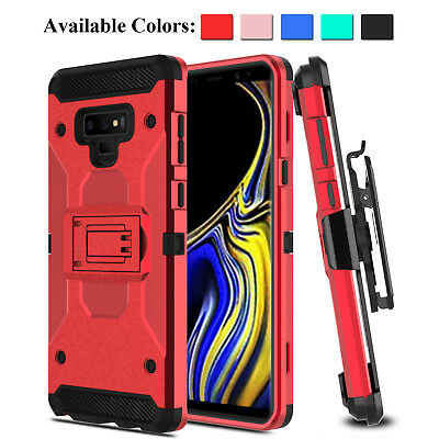 For Samsung Galaxy Note 9 SM-N960U Hybrid Armor Case With Kickstand Clip Holster