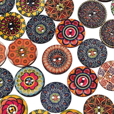 50Pcs/lot Wood Button Flower Picture 2 Holes Mixed Color Apparel Sewing DIY Gift