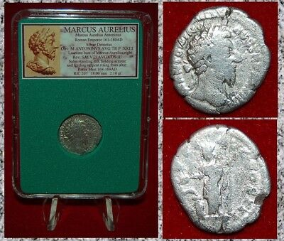 Ancient Roman Empire Coin MARCUS AURELIUS Salus Snake On Reverse Silver Denarius