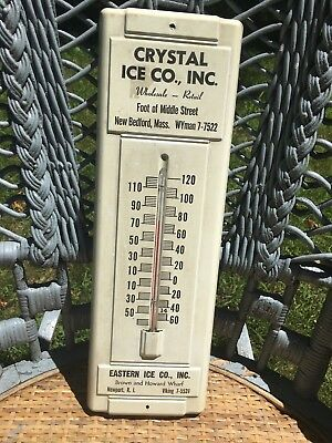 Vintage Tin Advertising Ice Thermometer / Crystal Ice / New Bedford MA.
