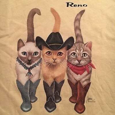 1996 vintage WESTERN CATS RENO t shirt--FRONT REAR views--BOB HARRISON ART--(XL)