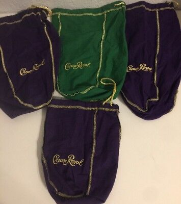 4 Crown Royal Felt Bags Gold Trim &  Drawstring Purple/Green