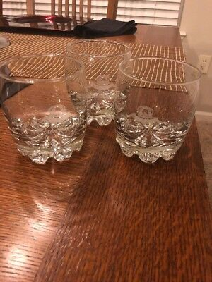 3 Crown Royal Bar Glasses  Starburst Base, Etched Logo  New