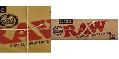 Raw Classic 1.25 1 1/4 Natural Unrefined Rolling Papers 50 Leaves/pk USA SHIPPED