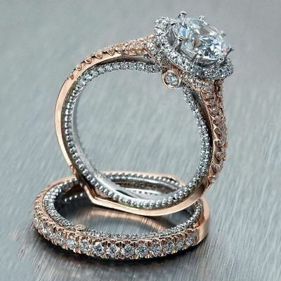 925 Sterling Silver Ring Set Two Tone 14K Solid Rose Gold White Sapphire Jewelry