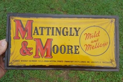 Vitg Mattingly & Moore Kentucky Whiskey Bourbon Tin TOC Sign Louisville Willett