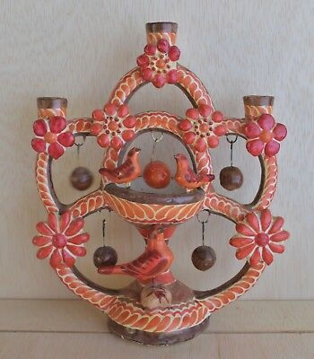 Gorgeous Mexican Tree Of Life  Vintage 3 Prong Candle Holder Folk Art Metepec