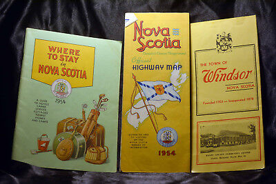 LOT 3 Vintage 1954 NOVA SCOTIA Map Where to Stay Windsor Brochure Canada