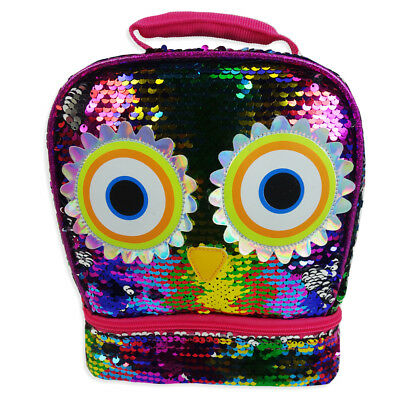 Rainbow Owl 2-Way Sequins Critter Dual Compartment Lunch Bag Tote