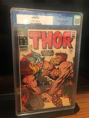 Thor 126 CGC 9.0  1966 1st Thor is his own title - Jack Kirby art