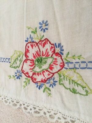 """Vintage Dresser Scarf Doiley Hand Embroidered 🌺 Crocheted Border 12x17"""""""