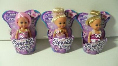 Lot Of 3 Funville Sparkle Girlz Mini Dolls all Different Clothing One With Wings