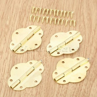 4pcs Zinc Alloy Cabinet Hinges Gift Wine Wooden Vintage Jewelry Chest Box Hinge
