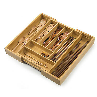 Bamboo Expandable Cutlery Tray & Drawer Organizer with 8 Compartments NS