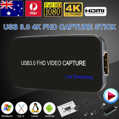 4K USB 3.0 FHD Video Capture Live Streaming Recorder HDMI TV For PC PS3 PS4 Xbox