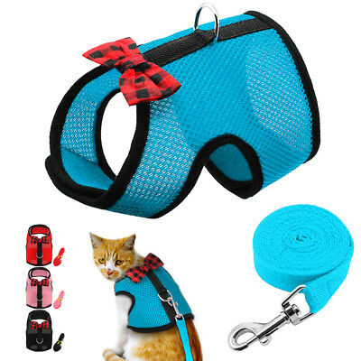 Kitty Holster Cat Harness Leash Pet Escape Proof Mesh Adjustable Vest for Pets