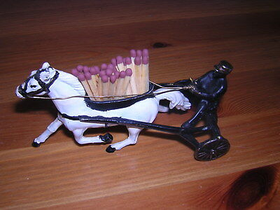 Cold Painted Hollow Bronze Trotting Cart Matchholder