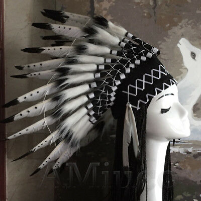 Native American Chief Headwear Indian Feather Headpiece Unisex Black Headgear