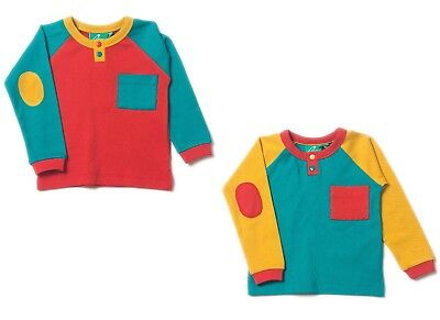 Little Green Radicals Organic T shirt top 0 3 6 9 12 18 24 Colour Block LGR L/S