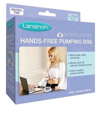 Lansinoh Simple Wishes Hands Free Pumping Cotton Bra Size L Plus - Qty 2
