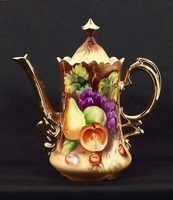 VERY RARE Vintage Lefton China Heritage Fruit Hand Painted Porcelain Coffee Pot