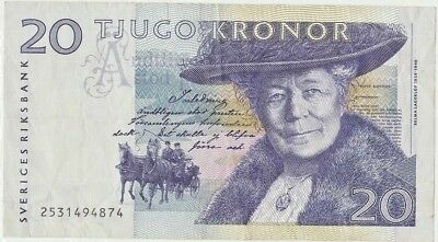 Sweden Twenty 20 Tjugo Kronor Banknote Bill -- Circulated