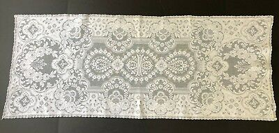"""Antique LACE Runner Dresser Scarf Rectangle 39"""" x 15 1/4"""" IVORY"""