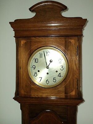 Edwardian Marquetry Longcase Clock Antique Grandfather Clock