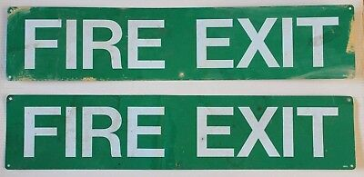 Vintage Pair of Metal Tin Fire Exit Signs Large Industrial Green & White Signage