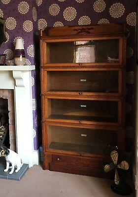 Stunning Early Golden Oak Globe Wernicke 4 Tier Sectional Stacking Bookcase