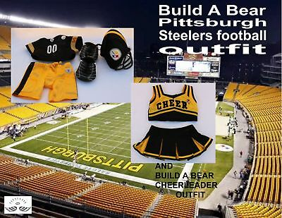 Build a Bear NFL Pittsburgh Steelers Football Uniform with Cheerleader Outfit