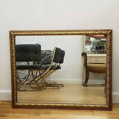 Antique Gold Giltwood Gesso Carved Mantle Mirror