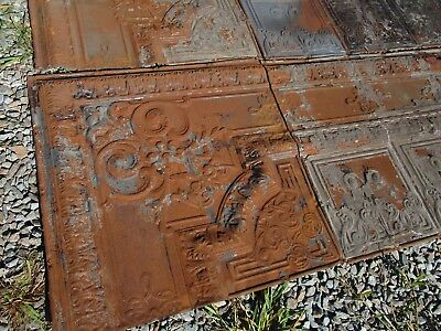 60 Sq Ft Antique Tin Ceiling - Ornate Late Victorian Tin - 9 Total Pieces