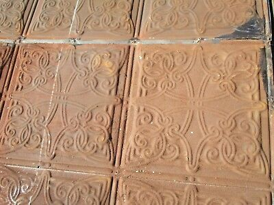 "26 Sq Ft Antique Tin Ceiling - Ornate Late Victorian Tin - 12"" x 12"" Pattern"