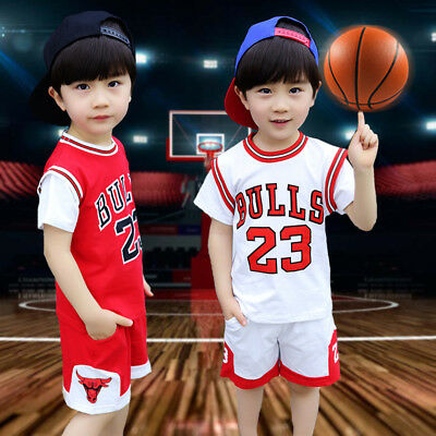 Kids Boys Chicago Bulls Jordan 23 Basketball Summer Cotton T-Shirt Bottom Suits