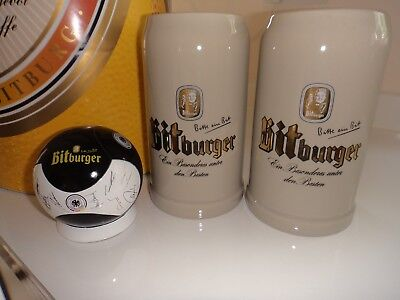 Bitburger Pils Stoneware German Beer Mug/Stein 1 Liter Plus huge Bottle & Opener