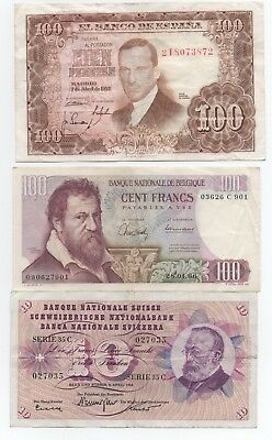 #3-Spanish, Swiss, French Currency, Circulated, Problem-free