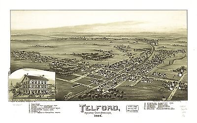 12x18 inch Reprint of American Cities Towns States Map Telford Pennsylvania