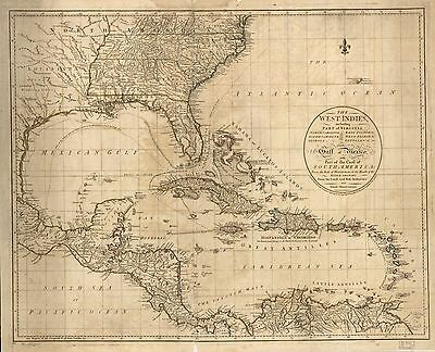 12x18 inch Reprint of West Indies Map West Indies