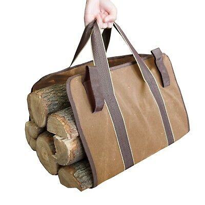 Canvas Log Carrier Bag Basket Water Resistant Strong Firewood / Fruit Collector