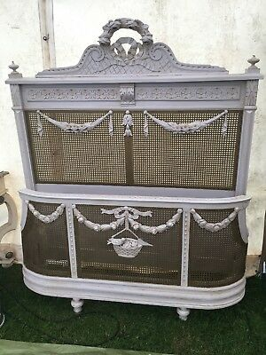 French Antique Bergere Canework Double Bed. Complete. Original Paint