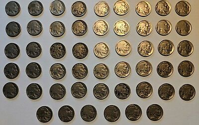 Massive Lot of 51 Buffalo Nickels - Mixed Dates, Some Very Rare - FREE SHIPPING!