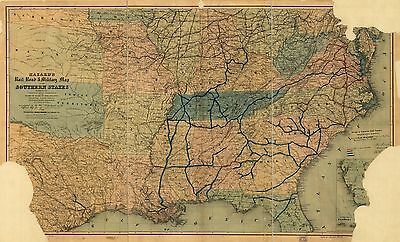 12x18 inch Reprint of American Railroad Map Southern States
