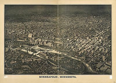 12x18 inch Reprint of American Cities Towns States Map Minneapolis Minnesota