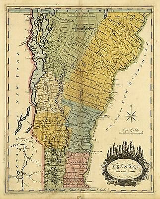 12x18 inch Reprint of American Cities Towns States Map Vermont