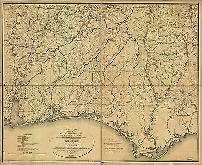 12x18 inch Reprint of American Military Map Cumberland Gulf South