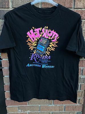 Vtg 1995 HOT SLOTS Riviera Hotel & Casino Winner T-Shirt Adult L Black 90's